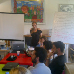 @presentense 2011 global fellow Eve Goldfinger practice pitches to other global fellows